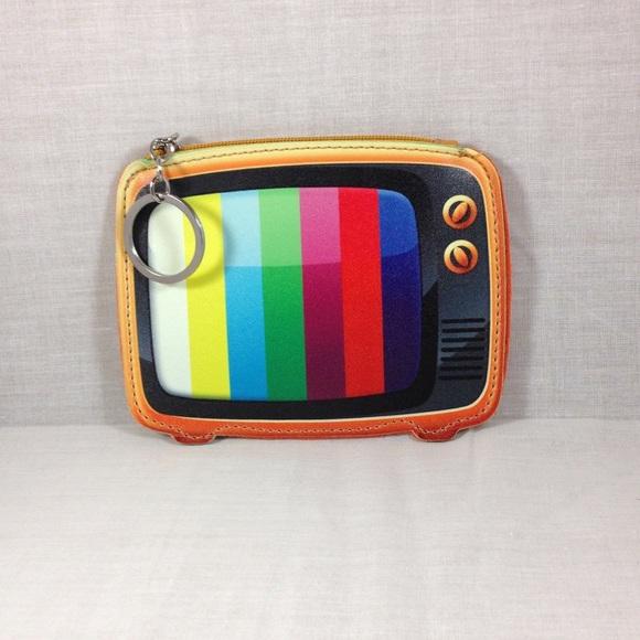 Boutique Accessories   Coin Purse Keychain Old School Tv Design ...